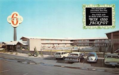 LAS VEGAS, NV Nevada   MOTEL 6~Tropicana Ave  VW BUG    Chrome Roadside Postcard