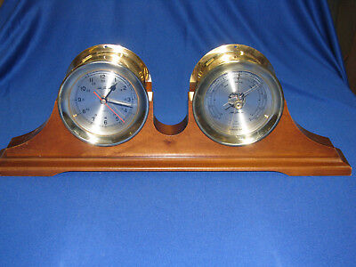Seth Thomas Clock And Barometer  Cast Brass With Wooden  Stand - Taiwan