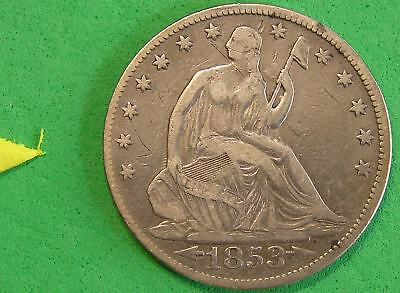 L-too: 1853 SEATED LIBERTY HALF DOLLAR ~~ ARROWS & RAYS ~~ ONE YEAR TYPE