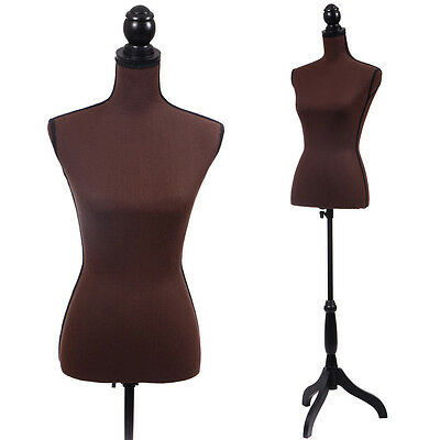 Coffee Female Mannequin Torso Clothing Display W/ Black Tripod Stand New