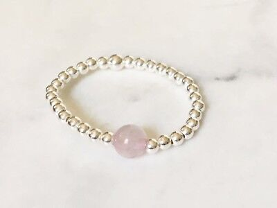 925 Sterling Silver Stackable Rose Quartz Gemstone Ball Stack Ring Size 6 7 8 9