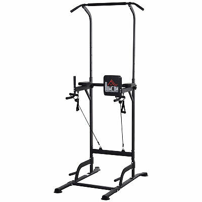 4HOMCOM Power Tower Multi-Function Height Adjustable Abs Dip Station Home Gym