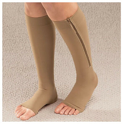 Zipper Compression Socks Zip Leg Support Knee Stockings Sox Open Toe S/M L/XL