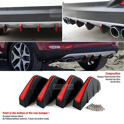 Bumper Diffuser Molding Point Garnish Air Spoiler Cover Black Red for SKODA Car