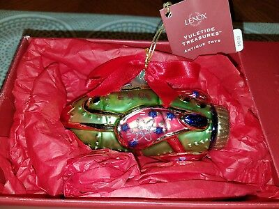 "Lenox Yuletide Treasures Antique Toys ""rocket Ship"" Blown Glass Ornament Poland"
