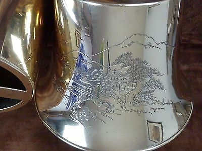 2 Vintage Japanese Engraved Matching Brass Lamp Shades ~ 1950's ~ Artist Signed