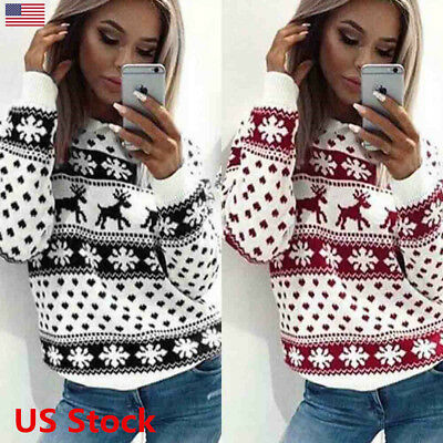 US Women's Christmas Sweater Long Sleeve Crewneck Slim Deer Snowflake Design Top