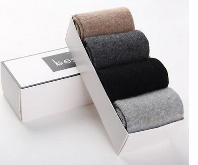 4 Pairs Mens Wool Cashmere Socks Comfortable Warm Pure High Quality Gift BOX