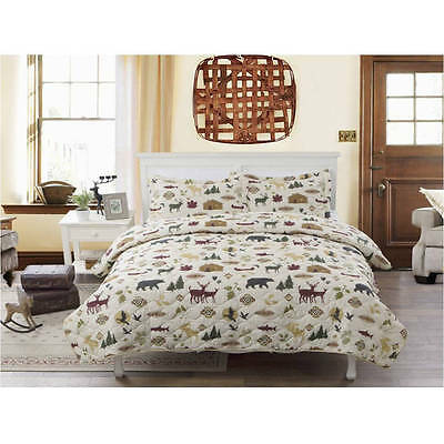 Rustic Bear Moose QUILT Country Lodge Log Cabin Bedding Twin Full Queen King