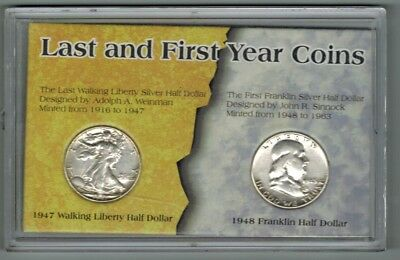 1947 Walking Liberty & 1948 D Franklin Halves Last, First Year Coins
