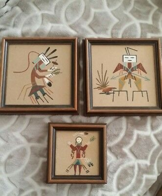 Vintage Navajo Sand Painting Signed,Native American Indian Authentic ~Beautiful~