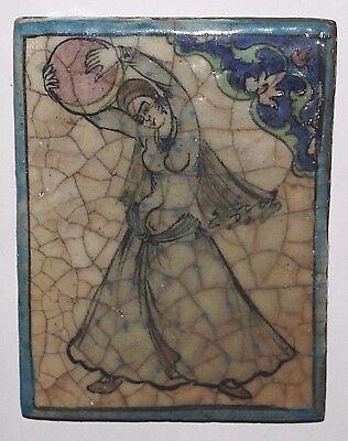 Antique Hand Painted Persian Pottery Tile With Dancing Woman