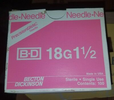 BD PRECISIONGLIDE NEEDLE REF 305196 STERILE SINGLE USE  18G×1 1/2  [100 ct] New