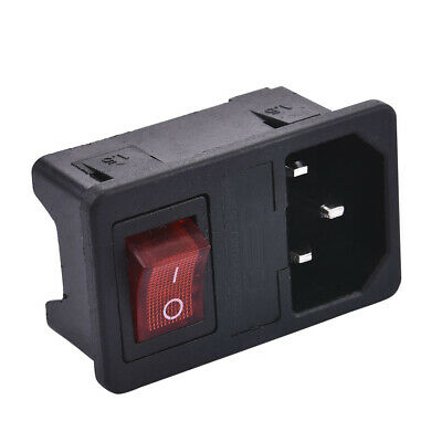 Hot 10A 250V 3 Pin IEC320 C14 AC Inlet Male Plug Power Socket With Fuse Switch