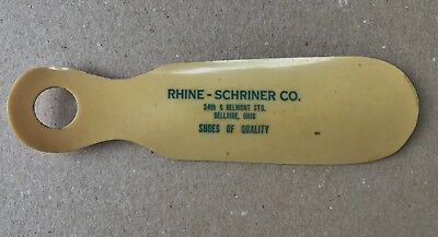 Vintage RINE-SCHRINER Celluloid Advertising Shoe Horn Bellaire Ohio OH.
