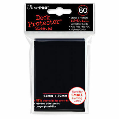 Ultra Pro Deck Protector Small Sleeves BLACK YuGiOh Cards 60ct Pack - 62 x 89mm