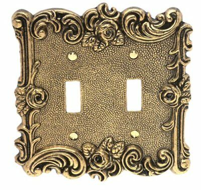 Amerelle 60TTAB Provincial Double Toggle Wall plate, Antique Brass
