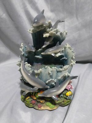 7 grey dolphin water fountain & music fish & floral multicolo