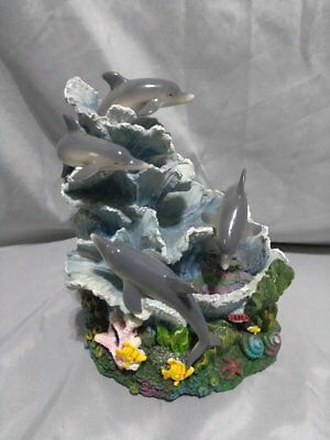 "4 grey dolphin water fountain & music fish & floral multicolor 8"" tall x 5 1/2"""