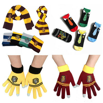 Harry Potter Scarf Tie Gloves Sock Badge Hufflepuff Slytherin Ravenclaw Cosplay
