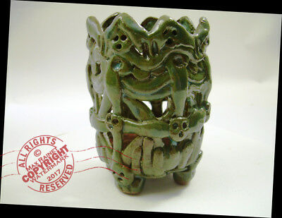 Deep Jade Green Dragon's CUP 2016 Whimsical FOLK ART glazed pottery SIGNED faces