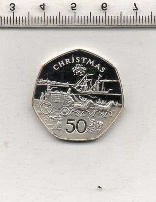 1980B ISLE OF MAN SILVER PROOF CHRISTMAS 50p COIN
