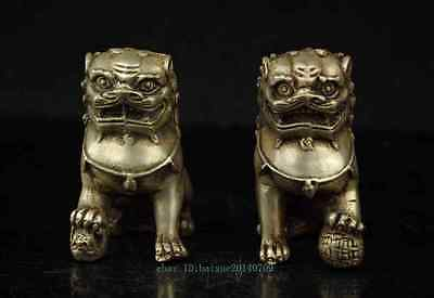 A Pair Old Chinese Silver Copper Handwork Carved Guard Lion Statues