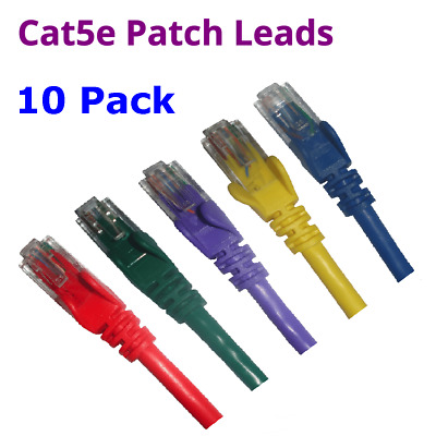 10 x 0.3M to 10M CAT5e Blue Green Purple Yellow Red Network Cable Patch Lead