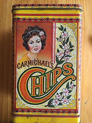 Vintage Carmichael's Chips Tin Can - Large