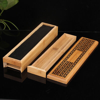 Bamboo Incense Stick Holder Burning Joss Insence Box Insense Ash Catcher Gift