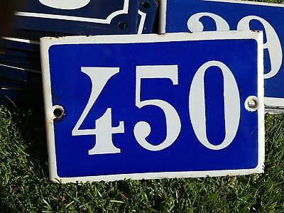 Old blue French house number 450 door gate plate plaque enamel metal sign steel