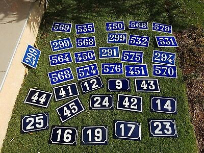 Old blue French house number 575 door gate plate plaque enamel metal sign steel