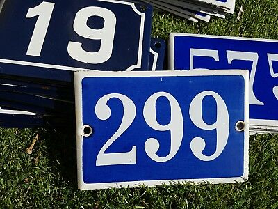Old blue French house number 299 door gate plate plaque enamel metal sign steel