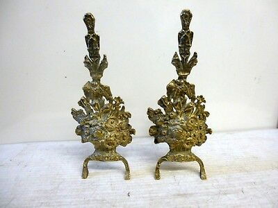 Pair of Vintage Rococo Brass Fire Dogs