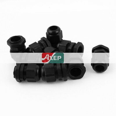 10 Pcs PG13.5 6mm to 12mm Waterproof Connector Adapter Plastic Cable Gland Black
