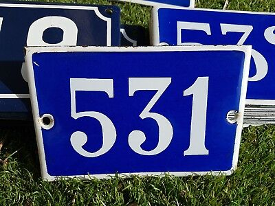 Old blue French house number 531 door gate plate plaque enamel metal sign steel