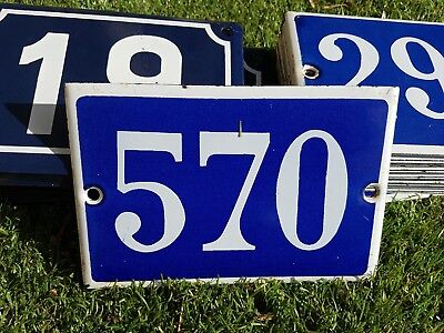 Old blue French house number 570 door gate plate plaque enamel metal sign steel