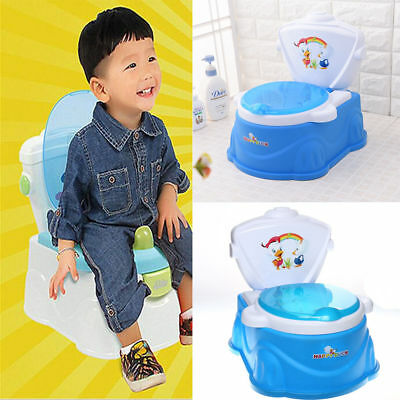 2 in 1 Toddler Potty Training Seat Baby Kids Toilet Urinal Trainer Chair Blue