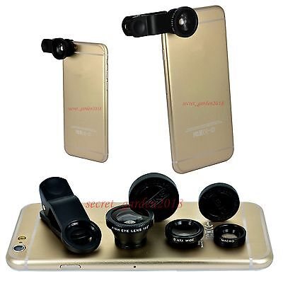 3 in 1 Black Fish Eye Wide Angle Macro Lens For iPhone 6 Plus iPhone 6S Plus