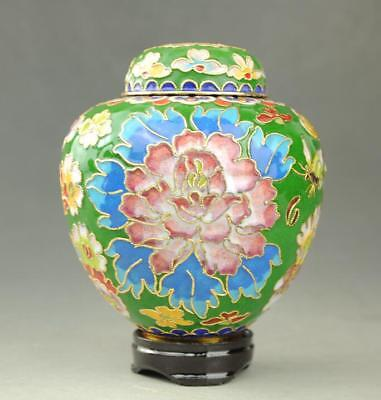 Beautiful China Cloisonne Hand-painted Peony  pot Jar