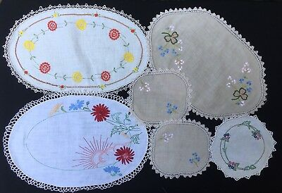 6x Vintage Embroidered Doilies - Crochet - Bulk Lot - Display Or Craft Use