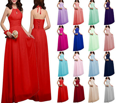 New Halter Neck Chiffon Party Evening Prom Gown Bridesmaid Dresses Size 6-18