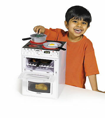 White Toy Hotpoint Electronic Cooker Lit Oven & Cooking Sounds Pots Pan Gift Ide