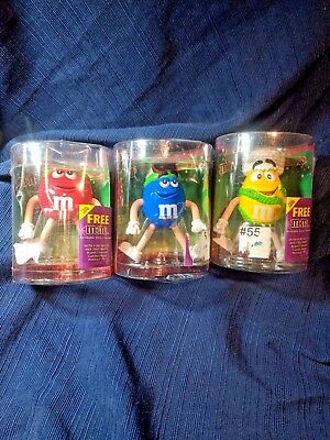 M & Ms Bendable Body Character Figurine set of 3 - Blue, Yellow, Red - NIB 2004
