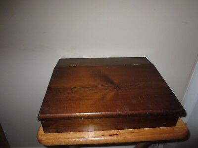 Vintage Wooden Box Chest Hinged Lid Letter Papers Storage Organize Desk Top