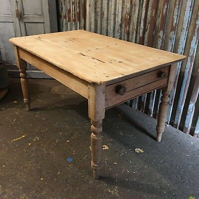 Victorian Antique Pine Scrub Top Table Drawer Vintage Shabby Chic Farmhouse (a