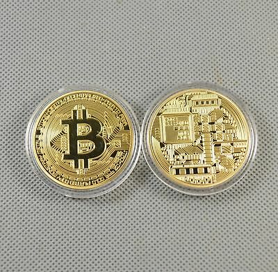 2PCS Bitcoin Gold Plated Commemorative Collectible Golden Iron Miner Coin KB06