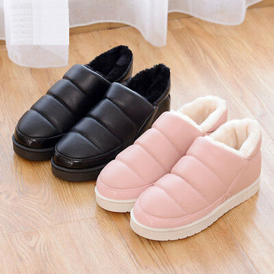 1 Pair Lady PU Leather Warm Winter Snow Boot Flats Shoes Waterproof Ankle Boot
