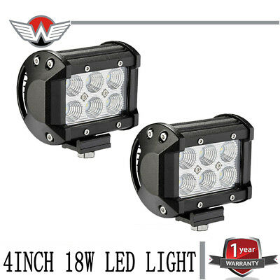 2pcs 4inch 18W LED Work Light Bar For Polaris Ranger 500 Spot Fog Dirving Lamp