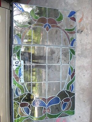 Vintage Stained Glass Window Set - 2 Pc - Leaded Salvage